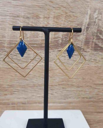 Boucles d'oreilles laiton email bleu