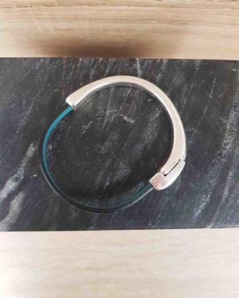 bracelet cuir et zamak-sarcelle métallique