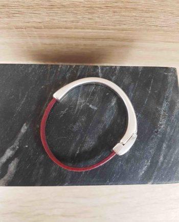 Bracelet cuir et zamak -framboise
