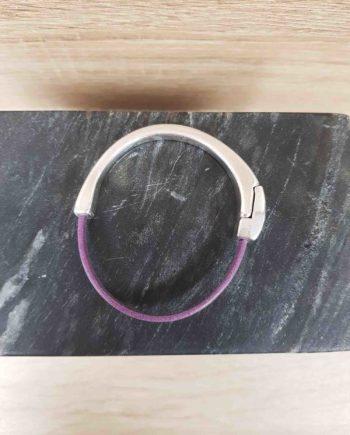 bracelet cuir et zamak-mauve