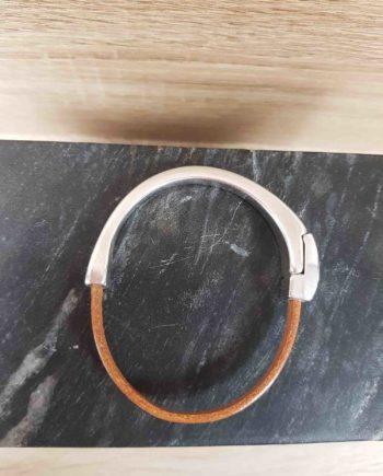bracelet cuir et zamak-caramel