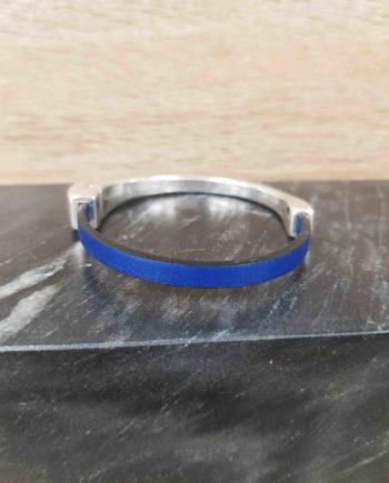 bracelet cuir et zamak-bleu métallique