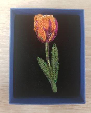 Broche tulipe orange