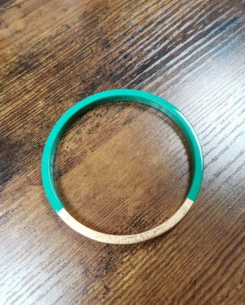 Bracelet vert laqué bois et feuille d'or