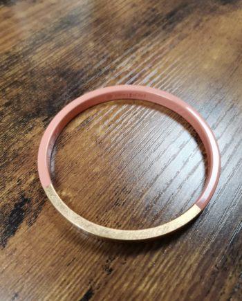 bracelet rose bois laqué feuille. d'or