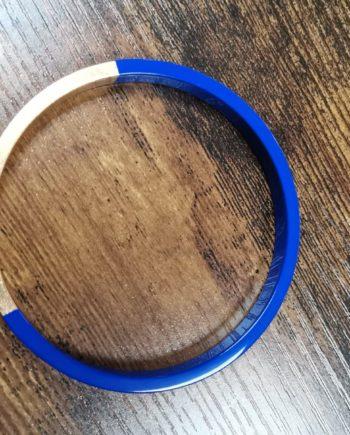 Bracelet bleu électrique bois laqué et or fin