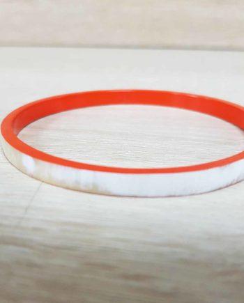 Bracelet fin en corne blanche, laqué orange - Artisanat vietnamien