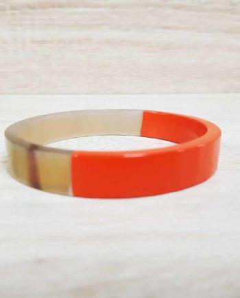 Bracelet jonc plat large orange
